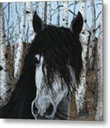 The Birch Horse Metal Print