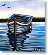 The Blue Wooden Boat Metal Print