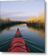 The Bow Of A Kayak Points The Way Metal Print