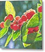 The Bush With The Red Berries Metal Print