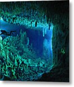 The Cascade Room Leads Divers Deeper Metal Print by Wes C. Skiles
