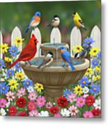 The Colors Of Spring - Bird Fountain In Flower Garden Metal Print