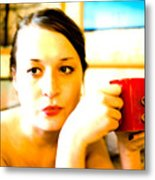 The Girl With A Red Cup  Metal Print