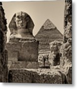 The Great Sphinx And Pyramid Of Khafre Metal Print