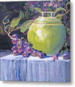 The Green Pot And Grapes Metal Print