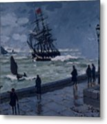 The Jetty At Le Havre In Bad Weather Metal Print