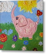 Little Pink Elephant Metal Print