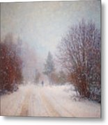 The Man In The Snowstorm Metal Print by Tara Turner