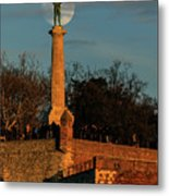 The Moon Rising Behind The Victor Statue In Belgrade In The Golden Hour Metal Print