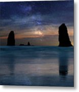 The Needles Rocks Under Starry Night Sky Metal Print