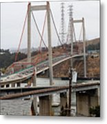 The New Alfred Zampa Memorial Bridge And The Old Carquinez Bridge . 7d8915 Metal Print by Wingsdomain Art and Photography