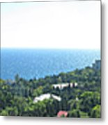the panorama of the ancient castle on a rock, the symbol of the Republic of Crimea on the background Metal Print