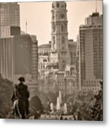 The Parkway In Sepia Metal Print