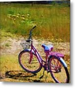 The Pink Bike Metal Print