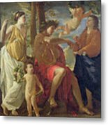 The Poets Inspiration Metal Print by Nicolas Poussin
