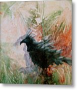 The Raven Sitting Lonely Metal Print