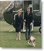 The Reagans Being Greeted By Their Dog Metal Print