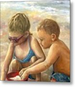 The Red Sand Bucket Metal Print
