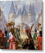 The Return Of Saint Louis Blanche Of Castille To Notre Dame Paris Metal Print