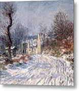 The Road To Giverny In Winter Metal Print by Claude Monet