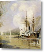The Russian Destroyer Shutka Attacking A Turkish Ship On The 16th June 1877 Metal Print