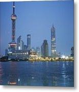 The Shanghai Skyline And Riverfront Metal Print