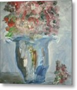 The Silver Swirl Vase Metal Print