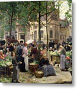 The Square In Front Of Les Halles Metal Print by Victor Gabriel Gilbert