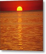 The Sun Sinks Into Pamlico Sound Seen Metal Print