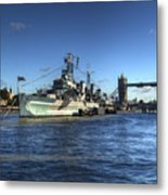 The Tower Hms Belfast And Tower Bridge Metal Print