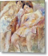The Two Sleepers Metal Print by Jules Pascin