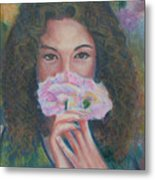 The Vision Romantic Figurative Floral Pastel Painting Metal Print