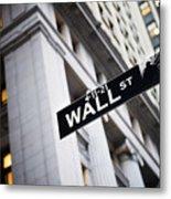 The Wall Street Street Sign Metal Print