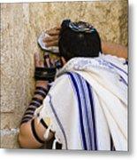 The Western Wall, Jewish Man Wearing Metal Print