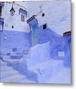 Three Blue Doors In Chefchaouen  Metal Print