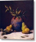 Three Golden Pears With Vase Metal Print