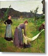 Three Ladies Washing Metal Print