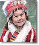 Tibetan Girl Metal Print