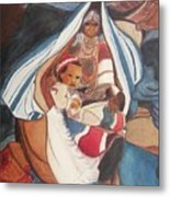 Tibetan Grandmother And Baby Metal Print by Suzanne  Marie Leclair