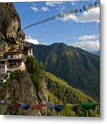 Tiger's Nest Prayer Flags Bhutan Metal Print