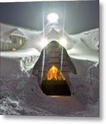 Timberline Lodge Entry Mt Hood Snowdrifts Metal Print by Dustin K Ryan