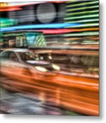 Times Square Traffic Metal Print