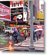 Times Square Umbrellas Metal Print