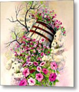 Tipsy Whiskey Barrel Metal Print