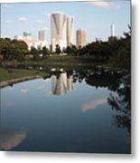 Tokyo Highrises With Garden Pond Metal Print