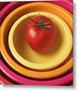Tomato In Mixing Bowls Metal Print