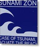 Topsail Island's Tsunami Zone Sign Metal Print