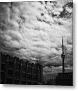 Toronto Morning Black And White Metal Print