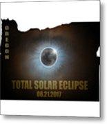 Total Solar Eclipse In Oregon Map Outline Metal Print