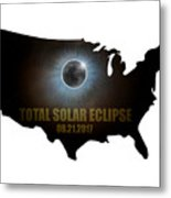 Total Solar Eclipse In United States Map Outline Metal Print